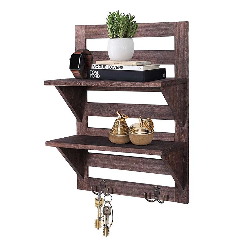 2-Tier Vintage storage wall mounted shelves with double iron hooks