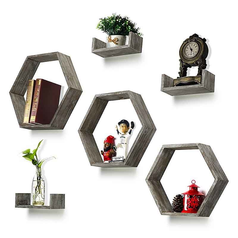 Wall shelves set of 6-countryside wood hexagon boxes and U-shape floating wood shelves