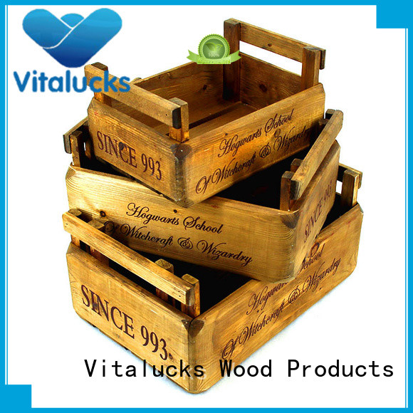 Rustic brown wooden gift crates nested set of 3 pieces