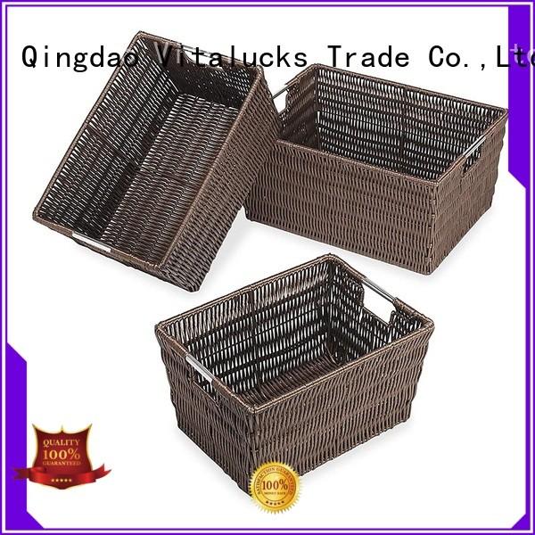 Rattan-look storage basket set of 3 pieces