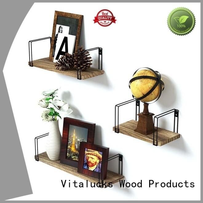 Vitalucks thick wood floating shelves ecofriendly logo engraved