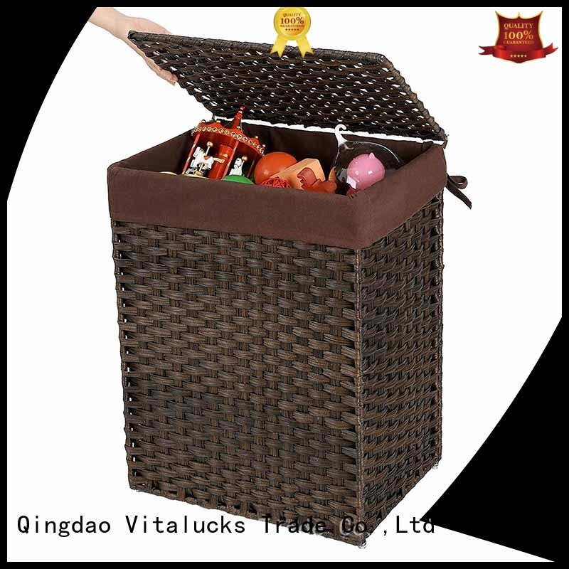 wicker storage baskets with lids at discount Vitalucks
