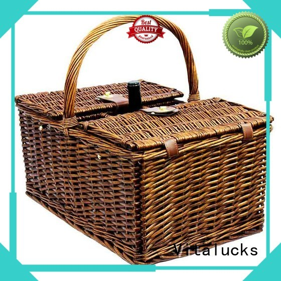 Wicker Basket With Lid picnic basket 4 person set