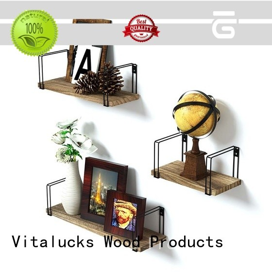 Vitalucks promotional wall mounted wood kitchen shelves for packing
