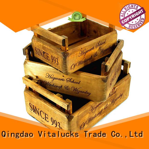 Vitalucks unfinished wood wine box for pakaging