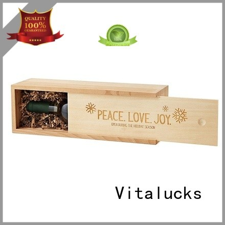 Wooden wine box with slid lid single bottle gift packing