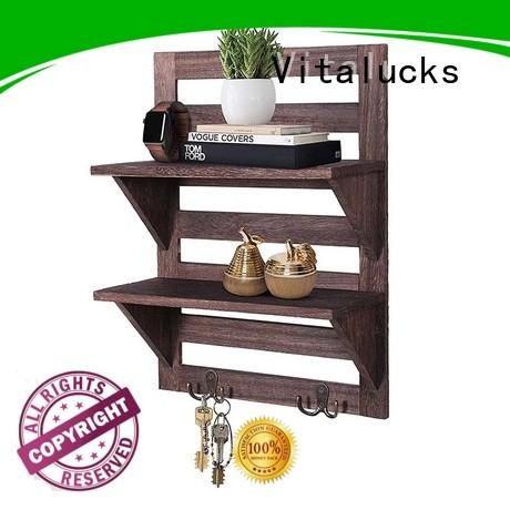 Vitalucks promotional floating wood shelves logo engraved