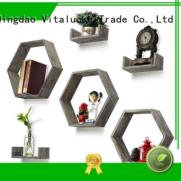 Wall shelves set of 6-countryside wood hexagon boxes and U-shape floating wood shelves