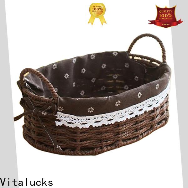Vitalucks well-chosen material round woven basket pratical production