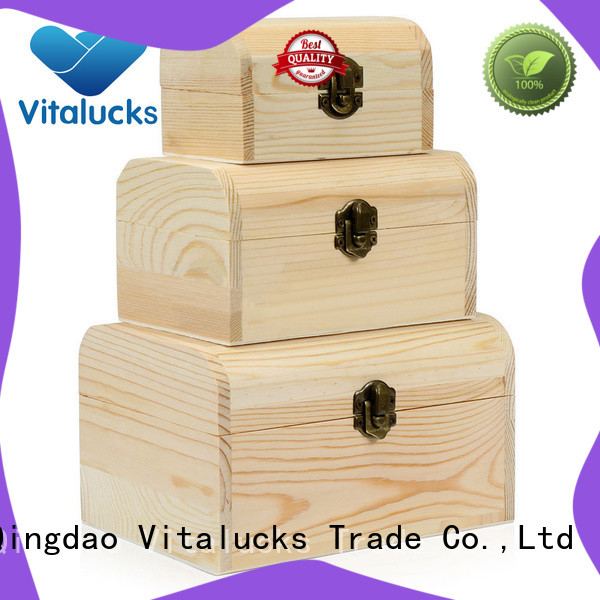 Vitalucks best price large unfinished wood box for pakaging