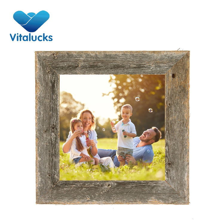 VL-PF14 14x14x2 inch 100% Upcycled Reclaimed Wood Picture Frame Individually Hand Crafted Photo Frame