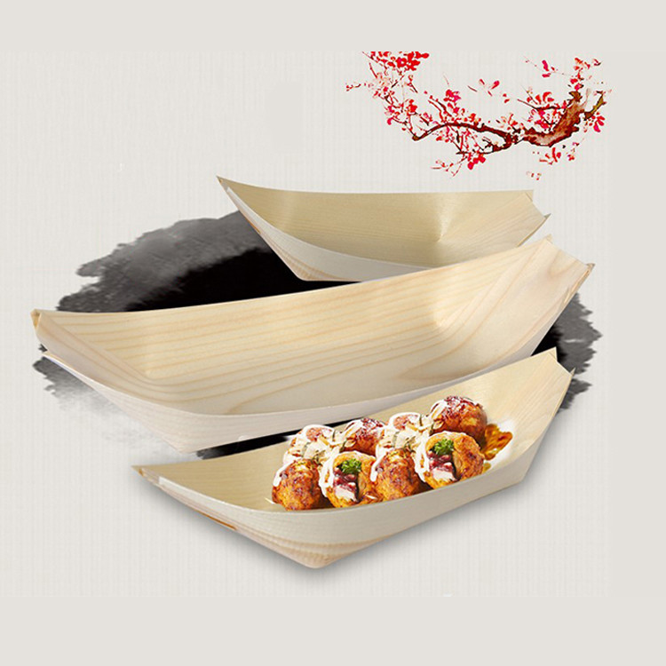 VL-WSB02 Customized logo modern simple 9inch disposable pine birch bamboo japanese wooden sushi serving boat