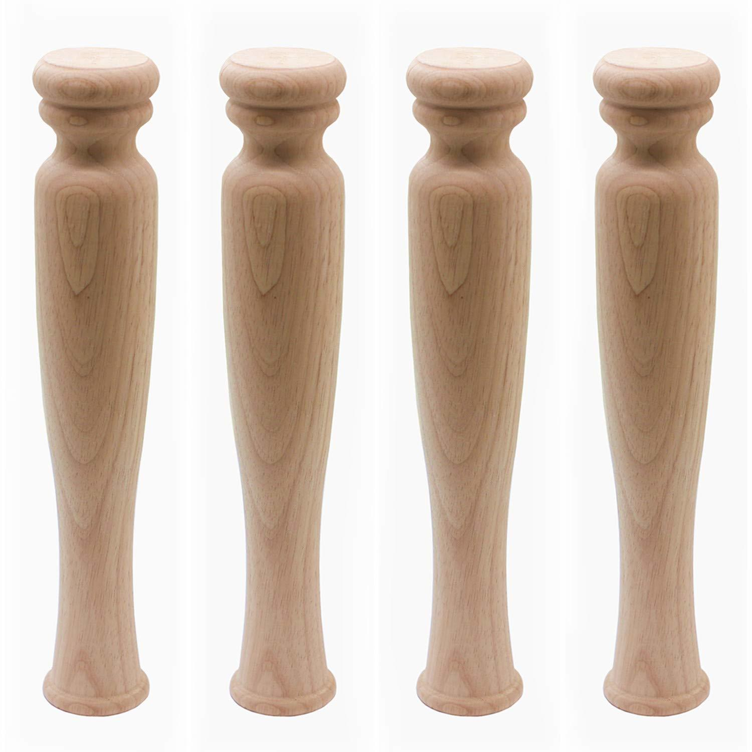 "14"" Solid Unfinished Rubber Wood Furniture Legs Replacement Bench Legs Coffee Table Legs"