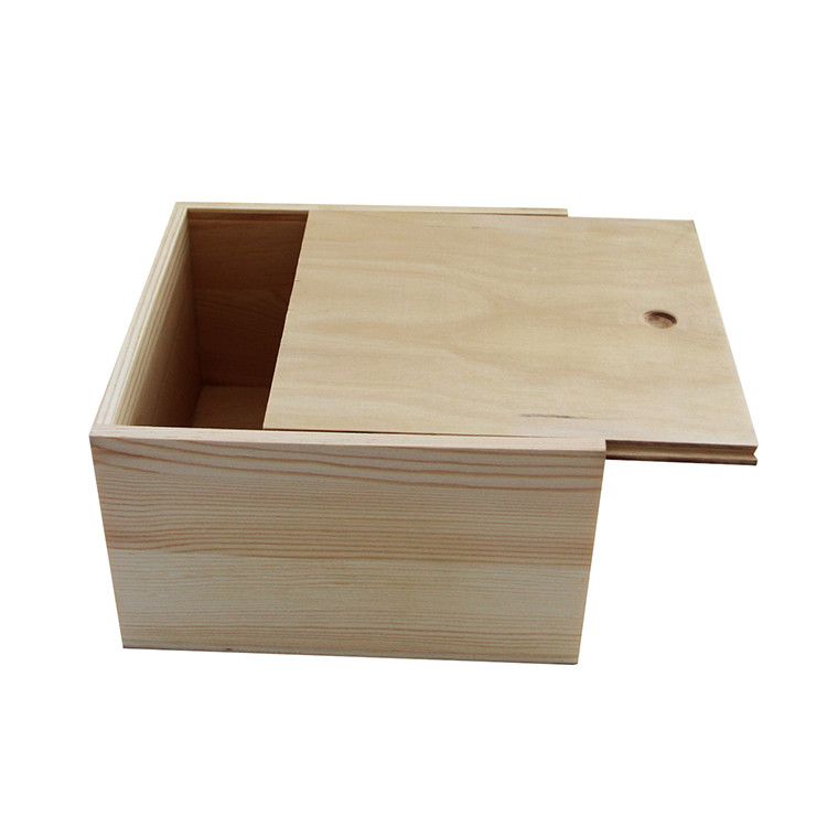 Best price wholesale unfinished large wood box with slide lid