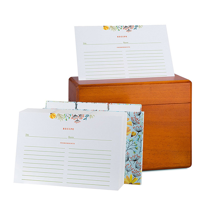 Eco-Friendly Multipurpose Wood Kitchen Recipe Box with 250 Recipe Cards