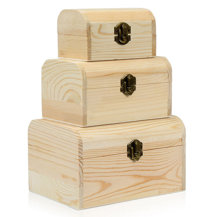 Hot sale Customized natural unfinished hinged wooden craft box