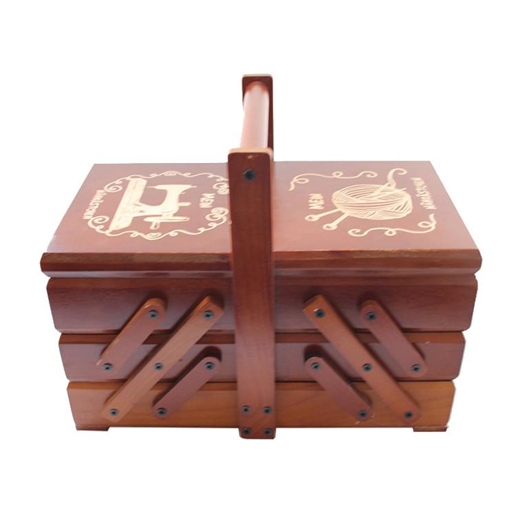 Customized craft modern folding sewing wood storage box