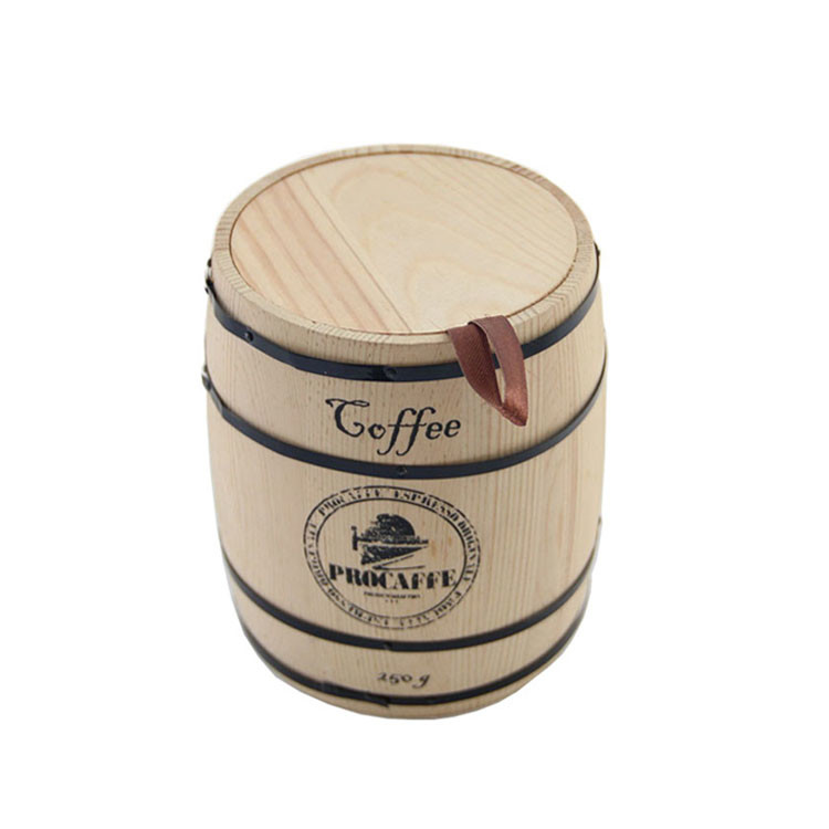 Customized shape color logo wooden coffee barrel with lid