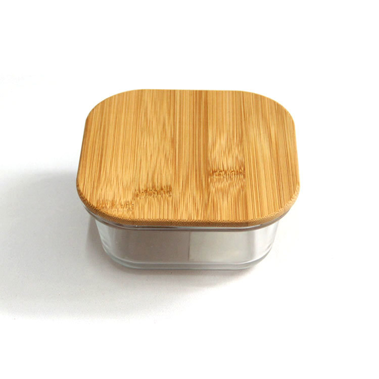 customized  square empty glass container with bamboo wooden lid