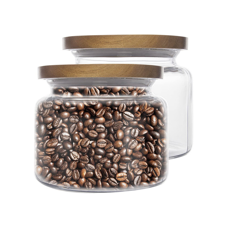 candle glass jars with acacia wooden lids,glass storage kitchen jars with airtight wood lids for tea coffee bean cookies candy