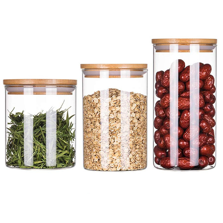 Food grade thick borosilicate glass sealed candle jars bamboo lid,glass sealed grain canister suitable for rice sugar spices