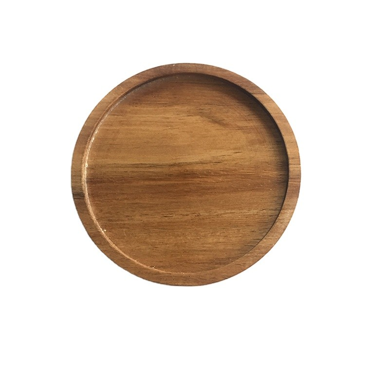 wholesale custom varnish acacia solid wood drink coaster coffee cup mat tableware bowl pad for household