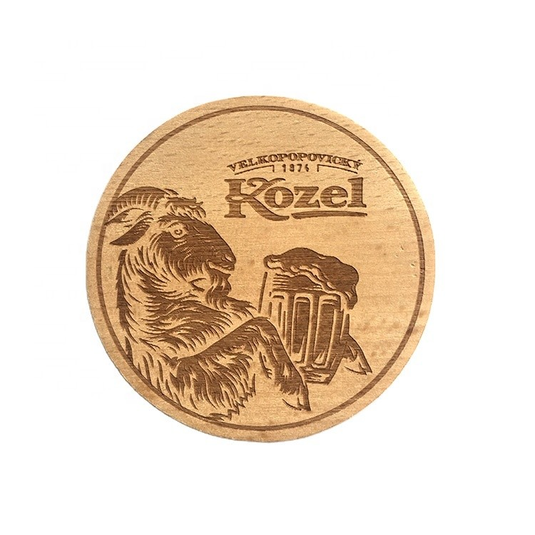 wooden coasters heat insulation table mats Single-sided laser engraving solid beech wood cup mats
