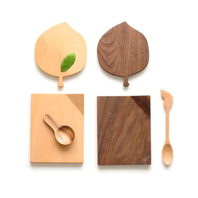 special design fashion leaf shape beech walnut wood coasters coffee tea cup drinking mats