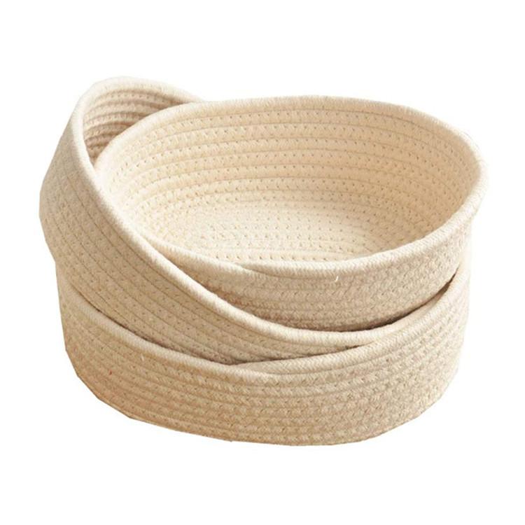 wholesale small beige color cotton rope woven sundries storage basket bins set
