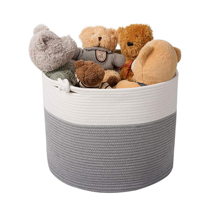 grey extra large woven cotton rope basket baby laundry toys blanket sundries basket