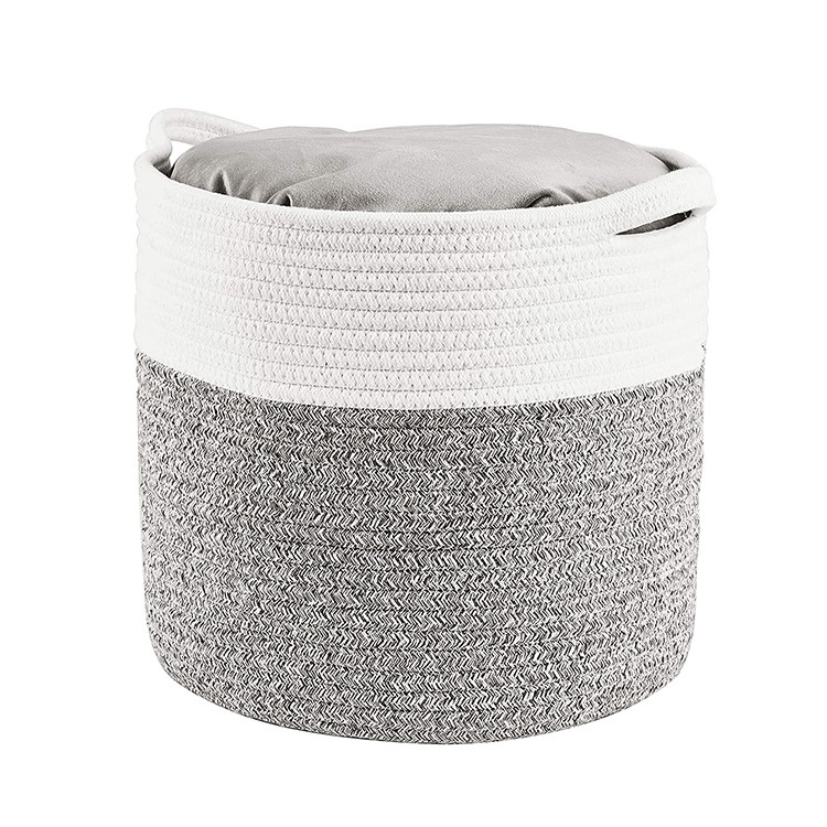grey woven cotton rope storage large basket for sundries,organic cotton rope basket with handle