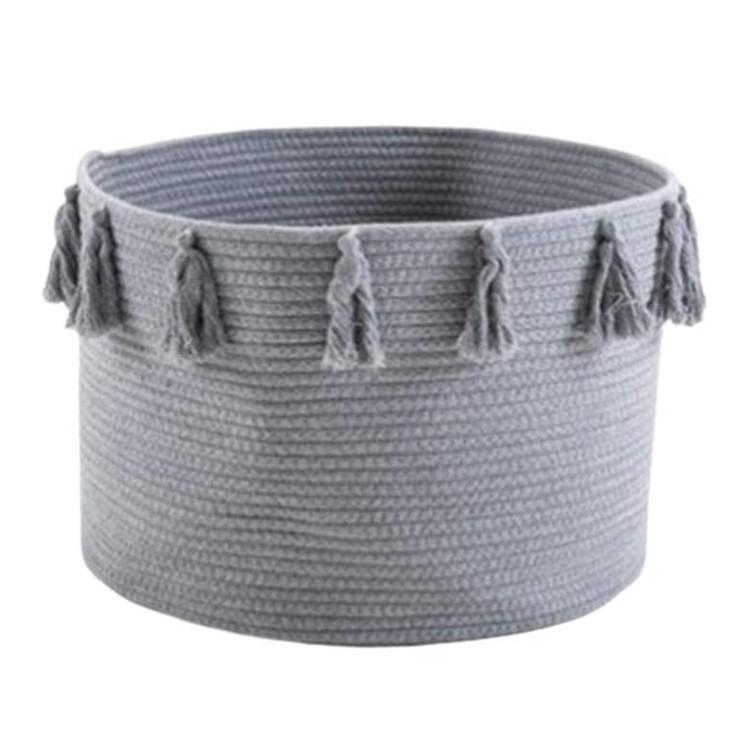 foldable cotton rope woven storage basket,large cotton rope baby laundry basket