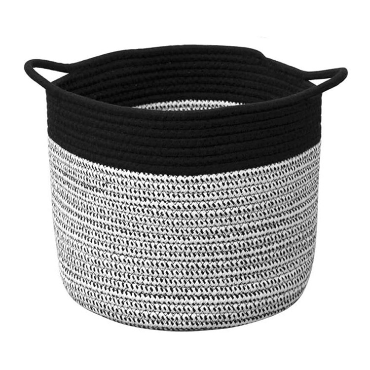 extra large foldable black cotton rope woven laundry storage basket for home