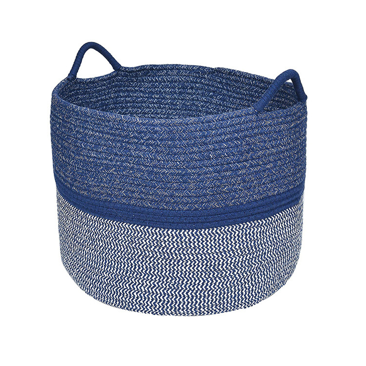 customized optional design large blue cotton rope sewing folding clothes storage basket with handle