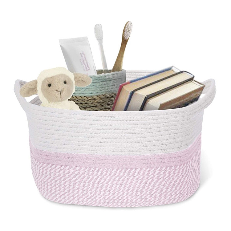 amazon customized wholesale household fashion foldable cotton rope woven storage basket with handles