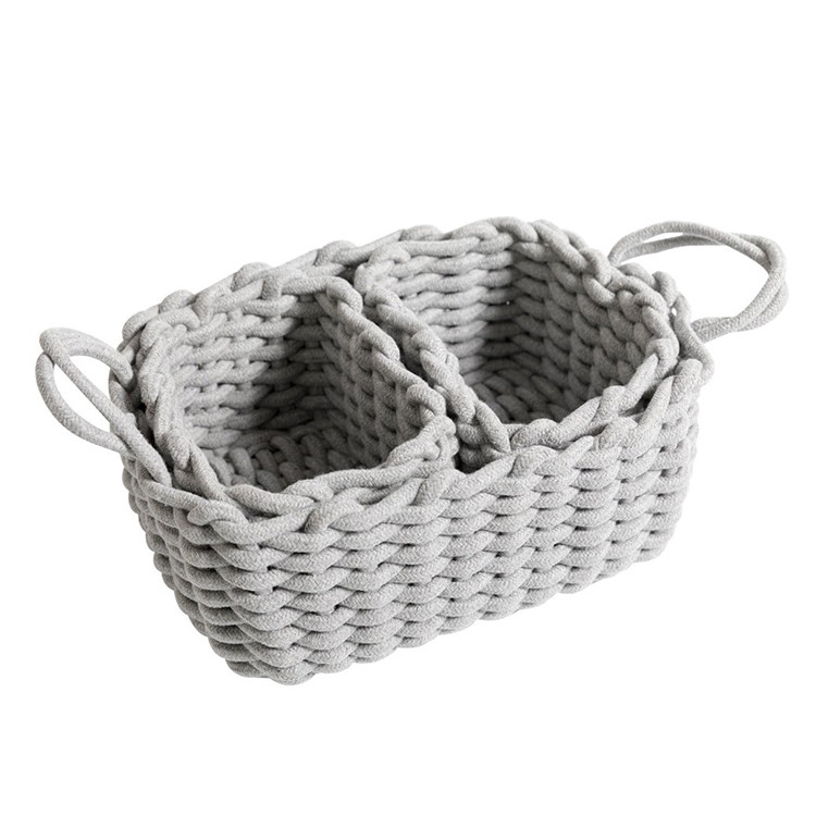 new design practical household gray cotton rope basket fruits snacks sundries bin set of  3