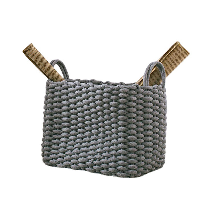 environmentally friendly wholesale high quality soft cotton woven rope sundries storage basket for livingroom