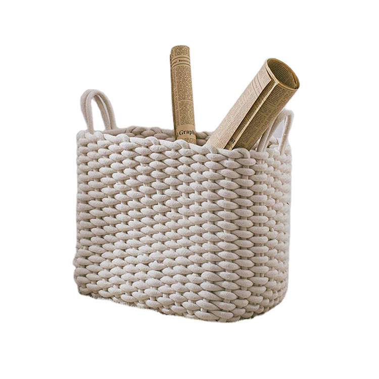 beautiful and practical designed natural crochet cotton rope storage baskets organizer for home decor