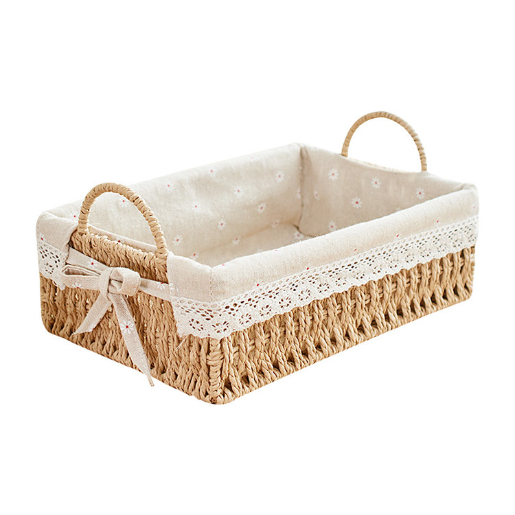 natural color paper rope basket with handle home decorative paper storage basket 31x21x10cm