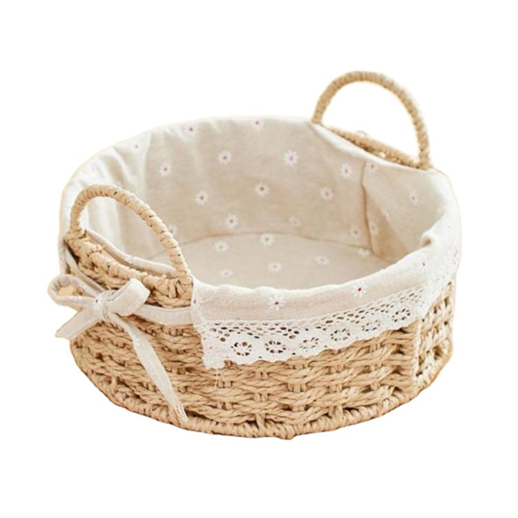 manufacturer round shape hand weaving paper string gift storage baskets paper rope sundries basket 21x8cm