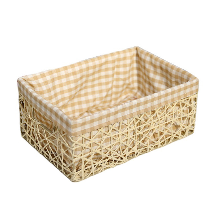 plain natural style hand weaving paper string gift storage baskets sundries hollow mesh bin