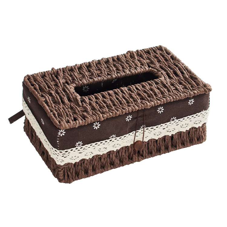 new design eco-friendly customized different size and color handmade paper rope storage basket