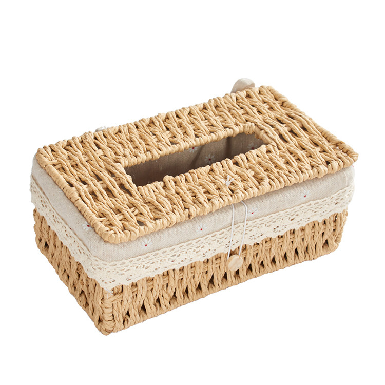 paper rope woven basket with lid 24x14x10cm special tissue box with little daisy lining