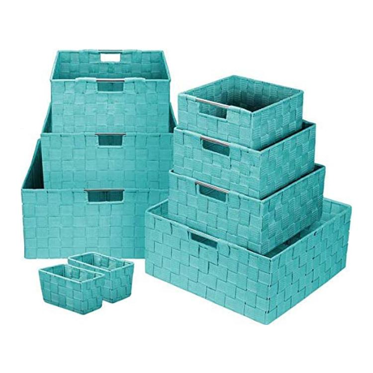 customized aqua color handmade woven pp strap basket polypropylene fiber ribbon storage baskets set of 9