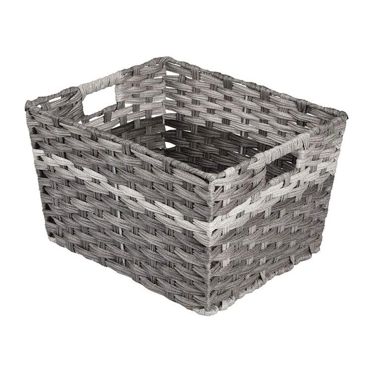 handmade synthetic rattan laundry basket pvc imitation rattan storage baskets with handles 17.5