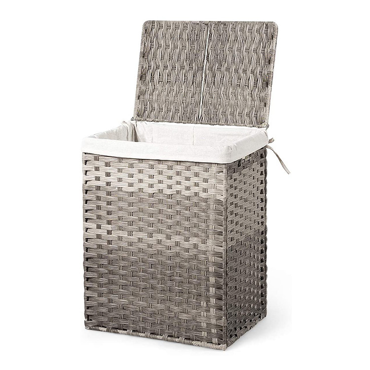 customized foldable durable plastic pp rattan household toys organizer storage basket laundry hamper with lift-up lid