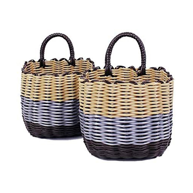 customized household pvc plastic pipe imitation rattan woven toys storage small basket 17x10x15cm