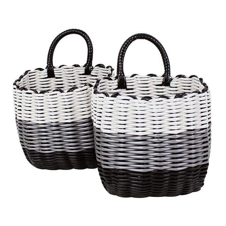 small modern three color stitching plastic pvc pipe rattan storage box baskets with winding weave handle