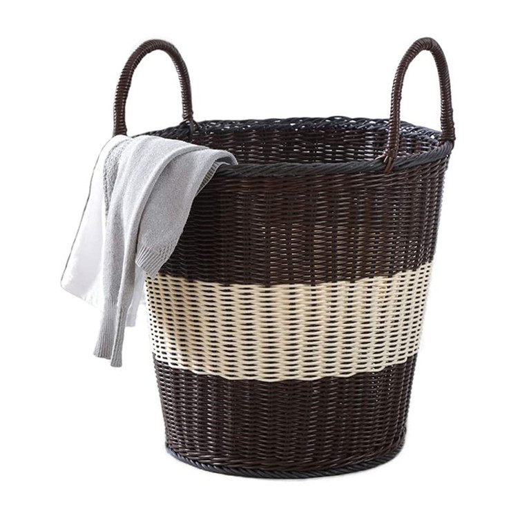 large capacity plastic woven handmade kids toys home storage basket pp rattan laundry basket with handles