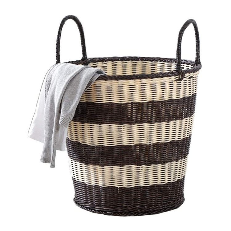 customized handmade repeatable and practical big plastic pipe woven basket for storage clothes with twine hands